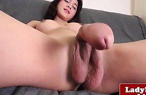 Asian ladyboy Alice wanking the brush horseshit
