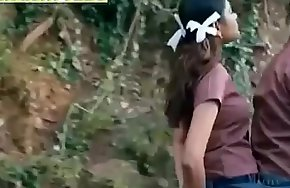 Schoolgirl Pressing her tight Boobs to a guy on Bike