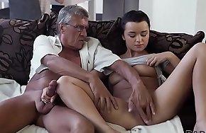 DADDY4K. Horny brunette unleashes all lust at bottom boyfriend's aged daddy